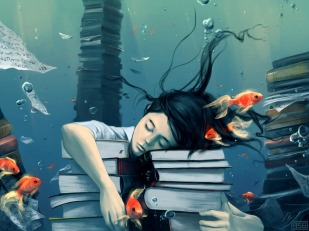 drowning in a sea of books